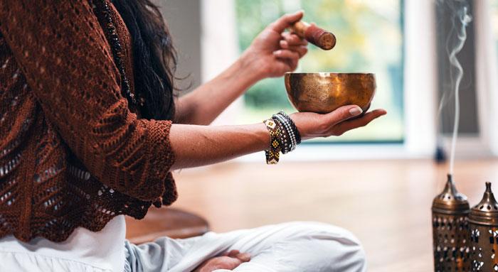 meditation with a tibetan singing bowl